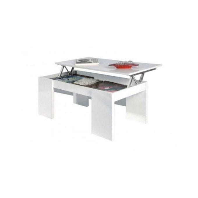 Mesa centro elevable modelo l-01 blanca