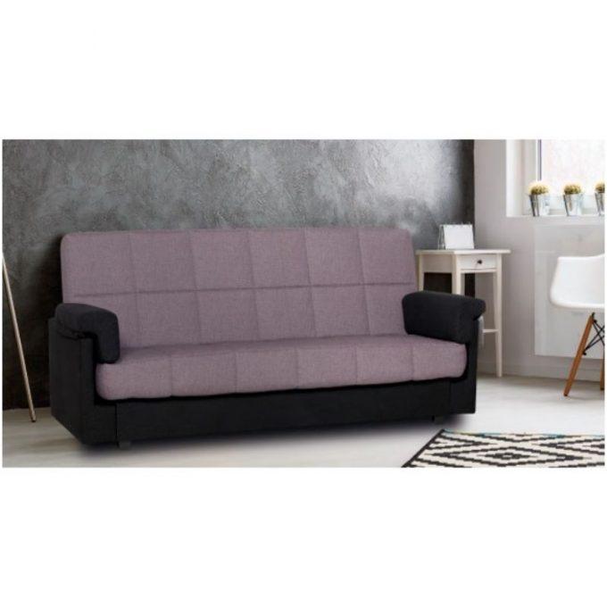 Sofá cama con brazos color negro y gris