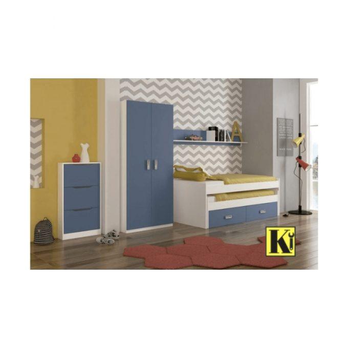 Dormitorio juvenil modelo eu-01 color blanco-azul